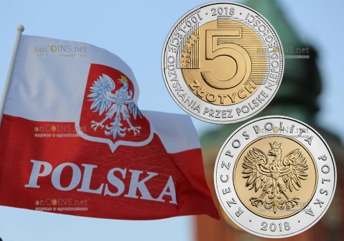 Польша монета 5 злотых 100-летие независимости