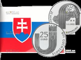 Словакия монета 25 евро 25 лет Республики Словакии