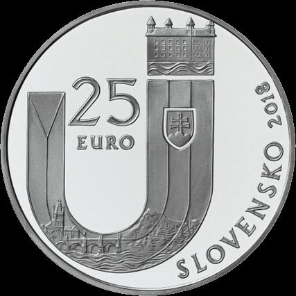 Словакия монета 25 евро 25 лет Республики Словакии, аверс