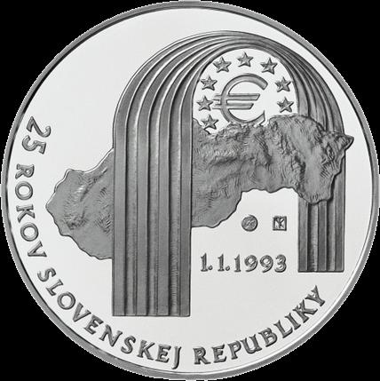 Словакия монета 25 евро 25 лет Республики Словакии, реверс