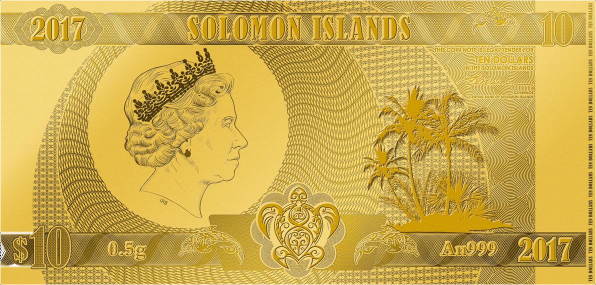 Соломоновы Острова банкнота 10 долларов, лицевая сторона