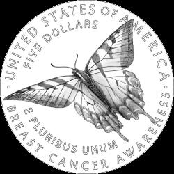 США монеты в поддержку Кампании против рака груди, реверс