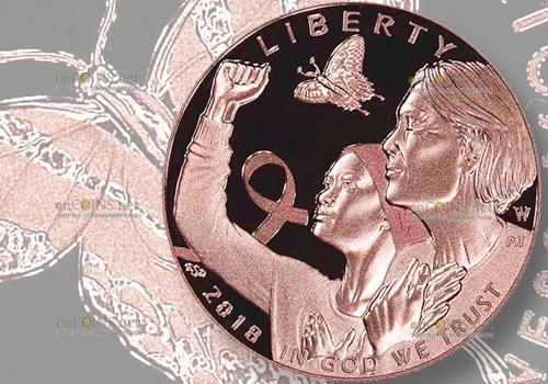 США монеты в поддержку Кампании против рака груди