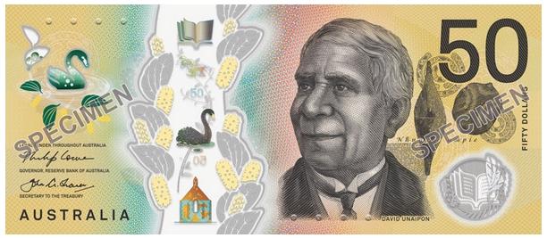 Австралия банкнота 50 долларов 2018 года, лицевая сторона