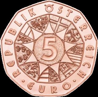 Австрия монета 5 евро Пасхальный кролик, аверс