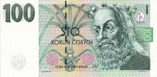 Чехия банкнота 100 крон, лицевая сторона