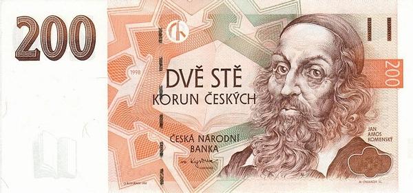 Чехия банкнота 200 крон, лицевая сторона