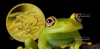 Фиджи монета 2 доллара Лягушка древесная