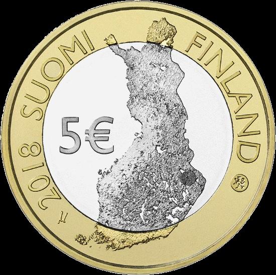 Финляндия монета 5 евро Национальный парк Коли, аверс