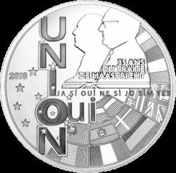 Франция монета 10 евро 25 лет Маастрихтскому договору, аверс