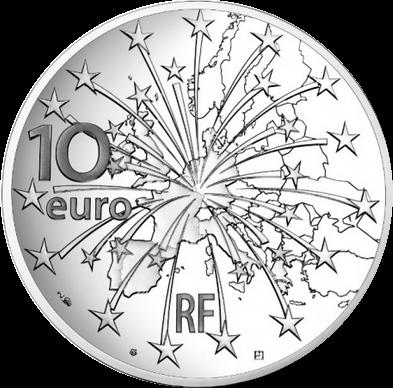 Франция монета 10 евро 25 лет Маастрихтскому договору, реверс