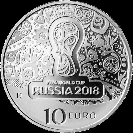 Италия монета 10 евро Чемпионат мира по футболу в России, реверс