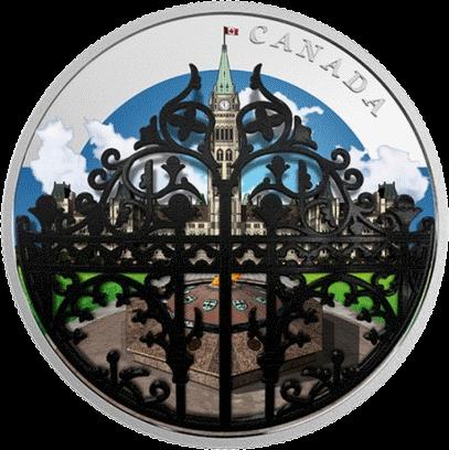 Канада 3-D монета 30 долларов Королевские ворота, реверс