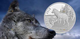 Канада монета 20 долларов Волк