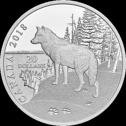 Канада монета 20 долларов Волк, реверс