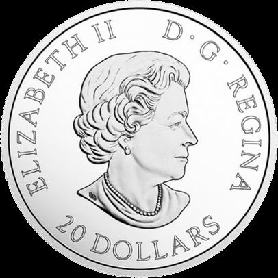 Канаде монета 20 долларов Звезда военной доблести, аверс