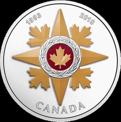 Канаде монета 20 долларов Звезда военной доблести, реверс