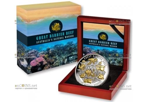 Ниуэ монета 10 долларов Большой Барьерный риф, подарочная упаковка