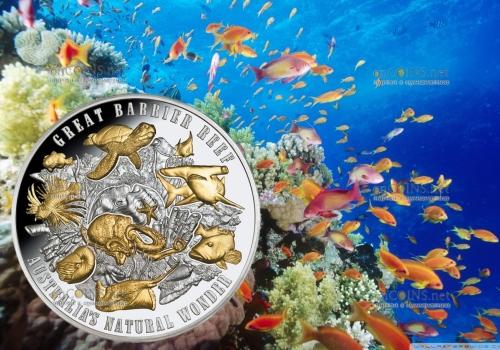 Ниуэ монета 10 долларов Большой Барьерный риф
