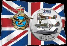 Нормандские острова монета 5 фунтов 100 лет Королевских ВВС