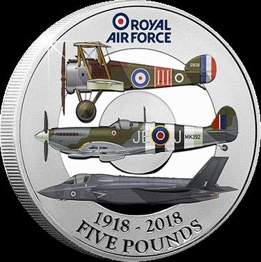 Нормандские острова монета 5 фунтов 100 лет Королевских ВВС, реверс