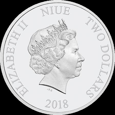 Остров-государство Ниуэ монета 2 доллара Малефисент, аверс