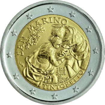 Сан-Марино монета 2 евро Тинторетто, реверс
