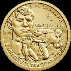 США монета 1 доллар Джим Торп, реверс