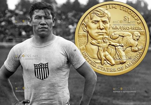 США монета 1 доллар Джим Торп