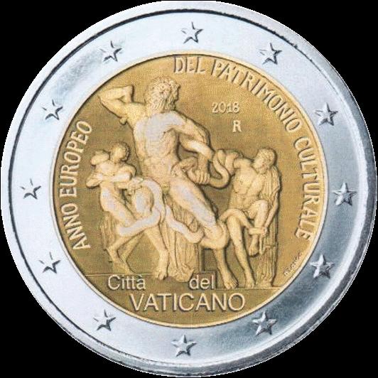 Ватикан монета 2 евро Европейский год культурного наследия, реверс