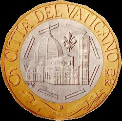 Ватикан монета 5 евро 600 лет куполу Санта-Мария-дель-Фьоре, реверс