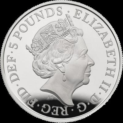 Великобритания монета 5 фунтов Королевская академия искусств, аверс