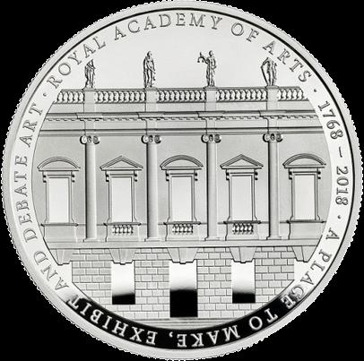 Великобритания монета 5 фунтов Королевская академия искусств, реверс