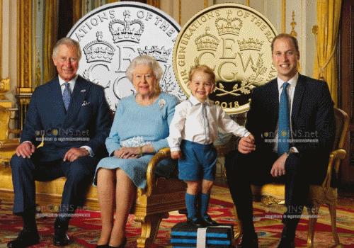 Великобритания монеты четыре поколения королевской семьи