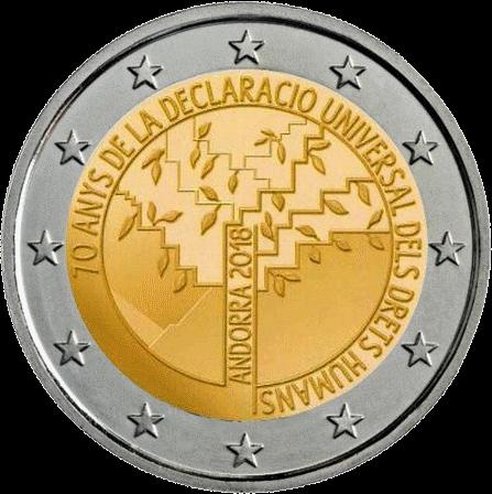 Андорра монета 2 евро 70 лет Декларации прав человека, реверс