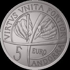 Андорра монета 5 евро 25 лет конституции Андорры, аверс