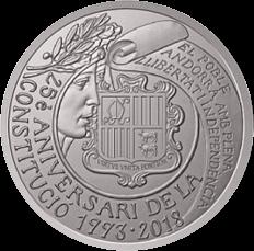Андорра монета 5 евро 25 лет конституции Андорры, реверс