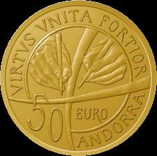 Андорра монета 50 евро 25 лет конституции Андорры, аверс