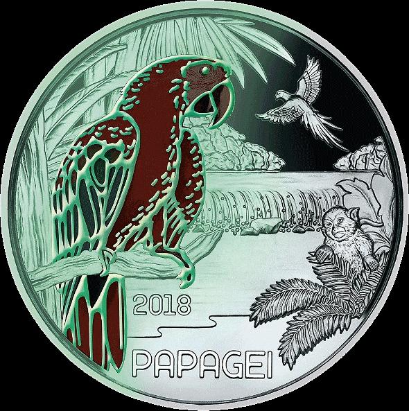 Австрия монета 3 евро Попугай, реверс