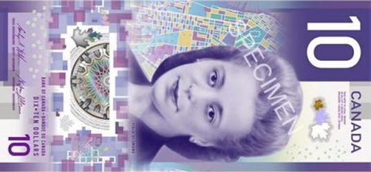 банкнота 10 долларов Канады 2018 года, лицевая сторона