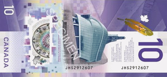 банкнота 10 долларов Канады 2018 года, оборотная сторона
