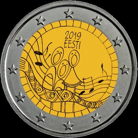 Эстония монета 2 евро 150-летие Фестиваля Песни, реверс