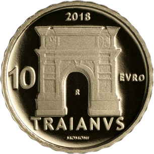 Италия монета 10 евро император Траян, реверс