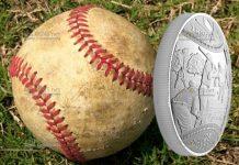 Канада монета 25 долларов 180 лет канадского бейсбола