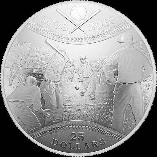 Канада монета 25 долларов 180 лет канадского бейсбола, реверс