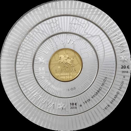 Литва монеты к 100-летию Независимости, аверс