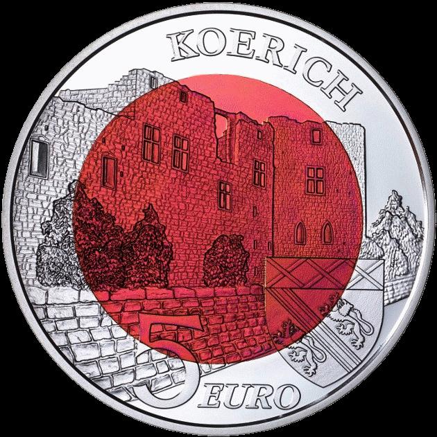 Люксембург монета 5 евро Замок Кёрих, реверс