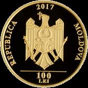 Молдова монета 100 лей 2017 год, золото, аверс