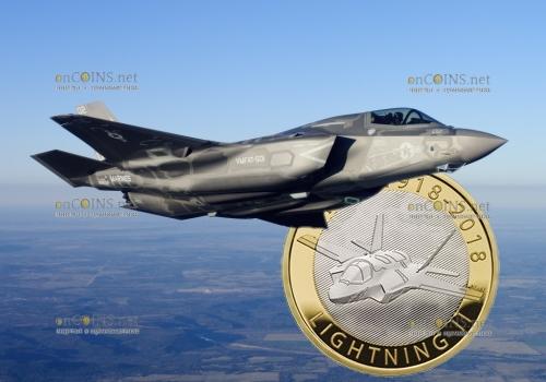 Великобритания монета 2 фунта стерлингов самолет Молния II (F-35 Lightning II)
