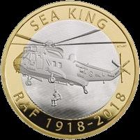 Великобритания монета 2 фунта стерлингов вертолет Морской король, реверс